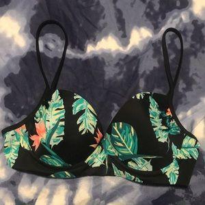 Roxy Black and tropical flower Bikini Top XL